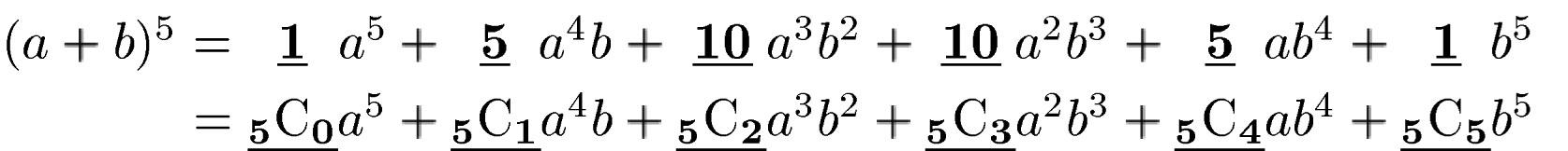 つまり,例えば(a+b)の5乗であれば,下の図のような関係になっているということです。